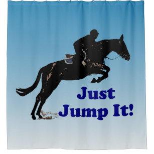 Pretty Blue Just Jump It Equestrian Shower Curtain