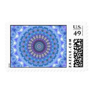 Pretty blue Kaleidoscope Mandala postage stamps