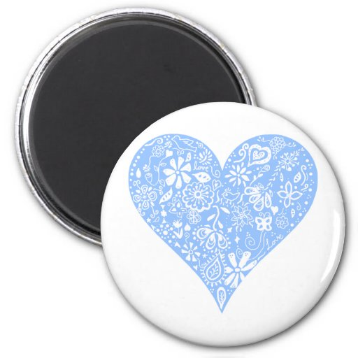 Pretty Blue Lace Heart with delicate white detail Fridge Magnets