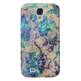 Pretty Blue Lace Roses Samsung Galaxy S4 Cases