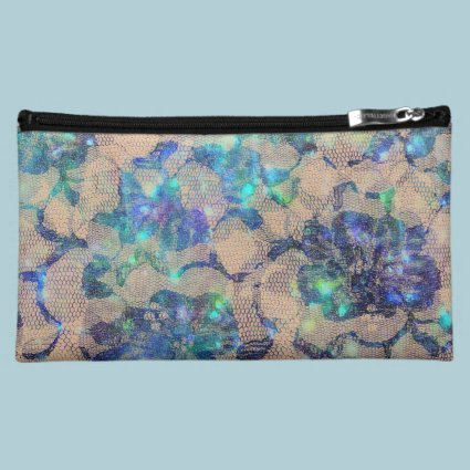 Pretty Blue Lace Roses Cosmetic Bag
