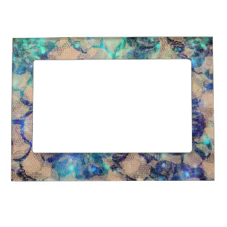 Pretty Blue Lace Roses Magnetic Picture Frame