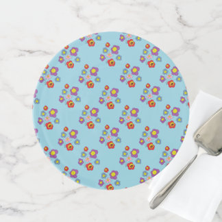 Pretty Blue Ladybug and Flowers Pattern Cake Stand