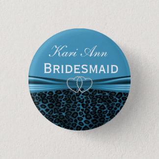 Pretty Blue Leopard Bridal Party Pinback Button