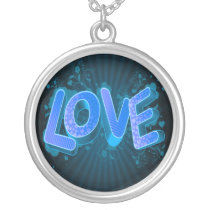 pretty blue  love silver plated necklace