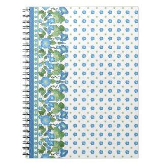 Pretty Blue Morning Glory Border Spiral Notebook