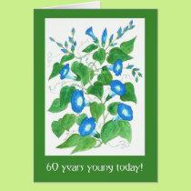 Pretty Blue Morning Glory Flowers 60th Birthday Card