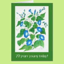 Pretty Blue Morning Glory Flowers 70th Birthday Card