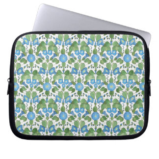 Pretty Blue Morning Glory Neoprene Laptop Sleeve