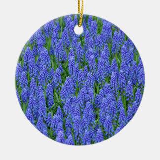 Pretty blue muscari flowers ceramic ornament