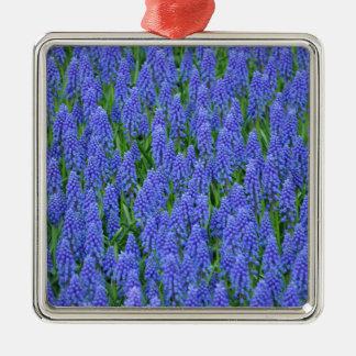 Pretty blue muscari flowers metal ornament
