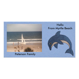 Pretty Blue Ocean Dolphin Drawing Customized Card