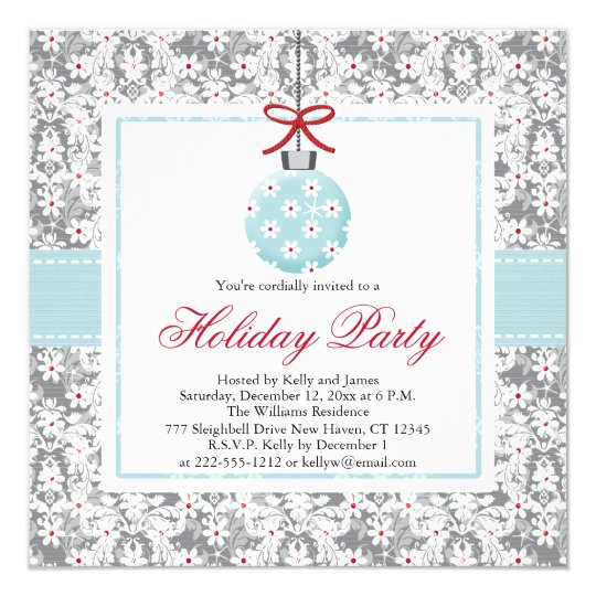 Pretty Blue Ornament Holiday Party Invitations