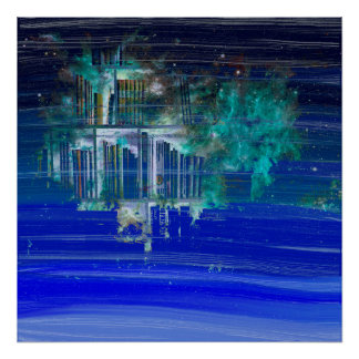 Pretty Blue Paint Splotch Fantasy Book Shelf Poster