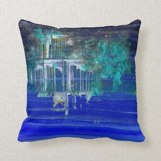 Pretty Blue Paint Splotch Fantasy Book Shelf Throw Pillow