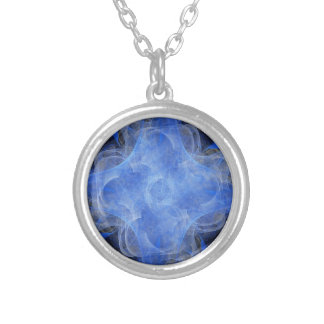 Pretty Blue Pastel Pattern Silver Plated Necklace