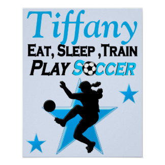 PRETTY BLUE PERSONALIZED SOCCER PLAYER POSTER