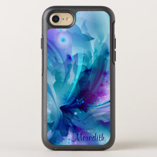 Pretty Blue & Purple Abstract Flower OtterBox Symmetry iPhone 7 Case