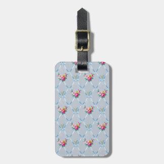 Pretty Blue Ribbons Rose Floral Vintage Wallpaper Bag Tag