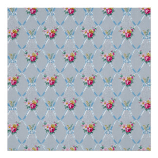 Pretty Blue Ribbons Rose Floral Vintage Wallpaper Poster