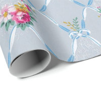 Pretty Blue Ribbons Rose Floral Vintage Wallpaper Wrapping Paper