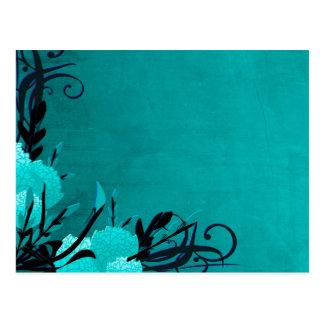 Pretty Blue Rose Floral Vines Postcard