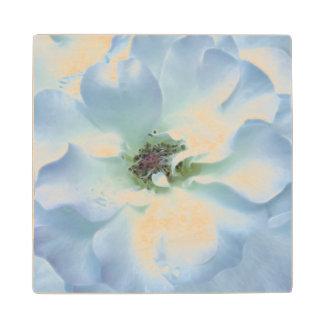 Pretty blue Rose Wood Coaster