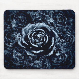 Pretty blue rose mouse pad