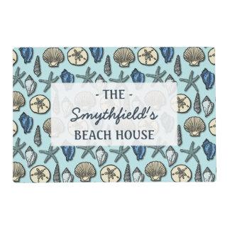 Pretty Blue Shell Starfish Sea Pattern Beach House Laminated Placemat
