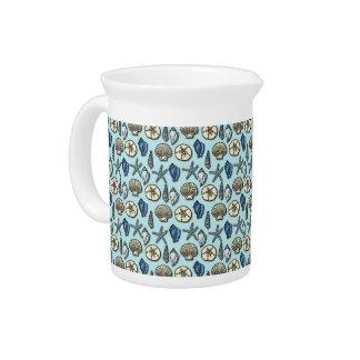 Pretty Blue Shell Starfish Sea Pattern Beverage Pitcher