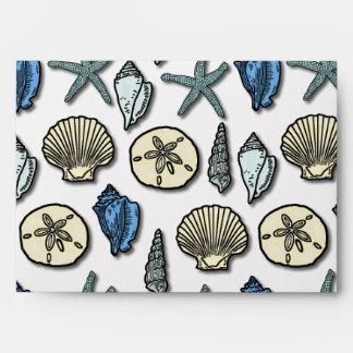 Pretty Blue Shell Starfish Sea Pattern Envelope
