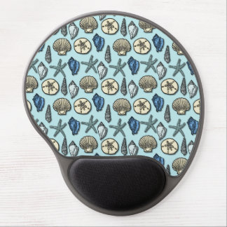 Pretty Blue Shell Starfish Sea Pattern Gel Mouse Pad