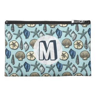 Pretty Blue Shell Starfish Sea Pattern Monogram Travel Accessory Bag