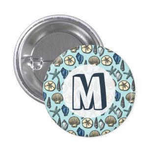 Pretty Blue Shell Starfish Sea Pattern Monogram Buttons