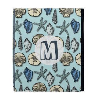 Pretty Blue Shell Starfish Sea Pattern Monogram iPad Cases