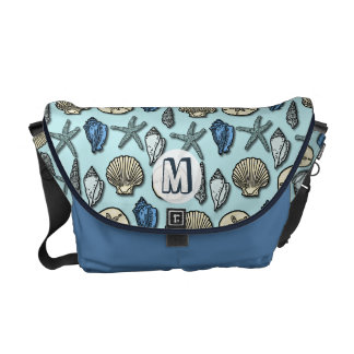 Pretty Blue Shell Starfish Sea Pattern Monogram Courier Bag