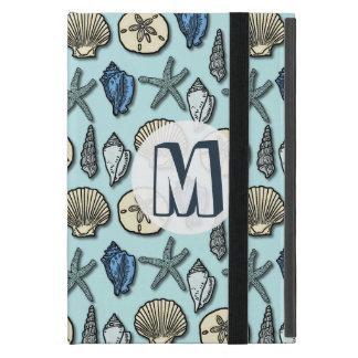 Pretty Blue Shell Starfish Sea Pattern Monogram Cases For iPad Mini