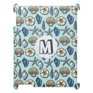 Pretty Blue Shell Starfish Sea Pattern Monogram iPad Case