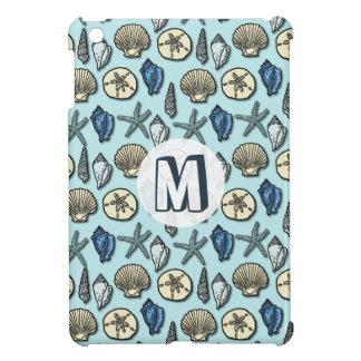 Pretty Blue Shell Starfish Sea Pattern Monogram iPad Mini Cases