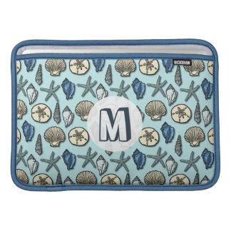 Pretty Blue Shell Starfish Sea Pattern Monogram MacBook Sleeves