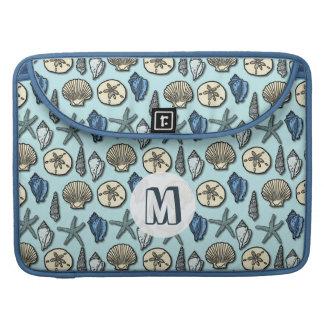 Pretty Blue Shell Starfish Sea Pattern Monogram Sleeve For MacBook Pro