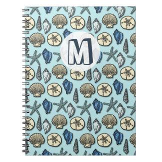 Pretty Blue Shell Starfish Sea Pattern Monogram Notebook