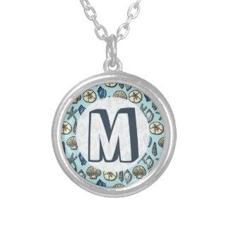 Pretty Blue Shell Starfish Sea Pattern Monogram Silver Plated Necklace