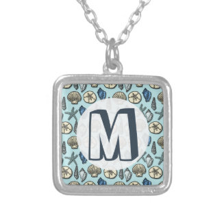 Pretty Blue Shell Starfish Sea Pattern Monogram Silver Plated Necklace