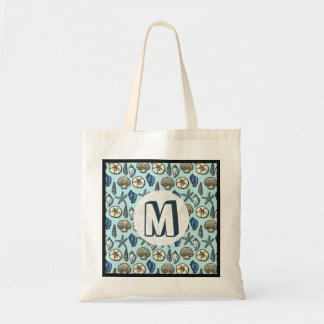 Pretty Blue Shell Starfish Sea Pattern Monogram Tote Bag