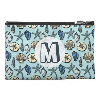 Pretty Blue Shell Starfish Sea Pattern Monogram Travel Accessory Bag