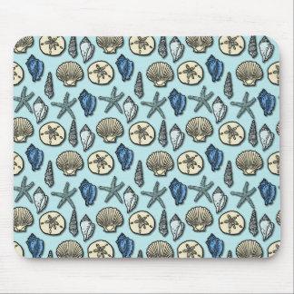 Pretty Blue Shell Starfish Sea Pattern Mouse Pad
