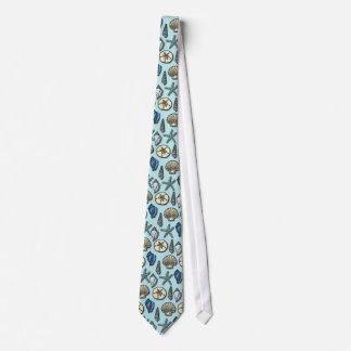 Pretty Blue Shell Starfish Sea Pattern Neck Tie