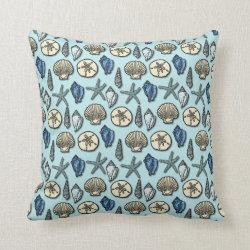 Pretty Blue Shell Starfish Sea Pattern Pillow
