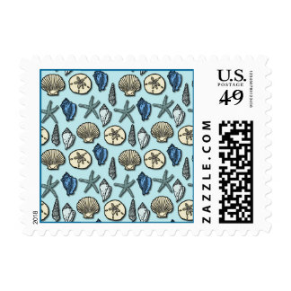 Pretty Blue Shell Starfish Sea Pattern Postage Stamp